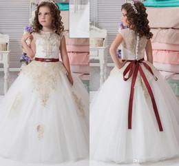 Wholesale Beautiful Dresses Children Party - Lace Arabic 2017 New Flower Girl Dresses Cheap Vintage Kids Children Formal Party Dresses Beautiful Christmas Wedding Dresses