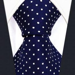 Laço tecido de jacquard de seda on-line-S6 Pontos Marinha Azul Escuro Branco Moda Mens Gravatas Laços 100% de Seda Extra Longo Tamanho Jacquard Tecido