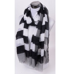 Wholesale India Price - Wholesale-shawls and scarves from india black white striped printed bandana Women scarf floppy autumn winter scarf female prices in euros