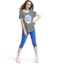 Wholesale Chiffon Set - Wholesale!Women's Sweater+Seven points Trousers Lenient Two piece suit Cotton Relaxed spring short sleeve Outdoor sport stripe clothing Sets