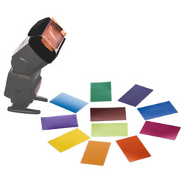 Wholesale Track Cards Wholesale - 12 sets color card for Strobist Flash Gel Filter Color Balance with rubber band ,diffuser Lighting with tracking number