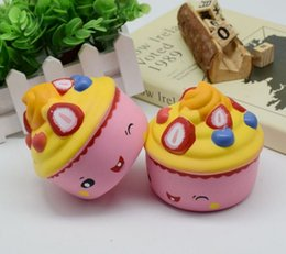 Wholesale Fruits Ice Cream - New 10CM Strawberry Ice Cream Squishy Slow Rising 10CM Jumbo Fruit Face Cake Cute Phone Straps Soft Scented Bread Kid Fun Toys Gift