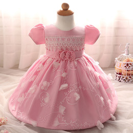 Wholesale Stretch Beach Skirts - Baby Girls Cascading Organza Flower Baptism Party Dress Flower Girl Elegant Stretch Lace Tulle Tea Length Dress newborn babies tutu skirts