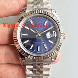Wholesale Male Auto - Swiss Luxury brands Mens Blue Mechanical watches Automatic datejust Stainless steel orinigal strap 41MM Male business casual AAA wristwatch