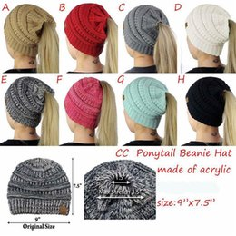 Wholesale Ponytail Red - Autumn Winter Fashion Women CC Knitted Beanie Hat Female Casual CC Ponytail Caps Back Hole Pony Tail Knit Wool Warm Beanies