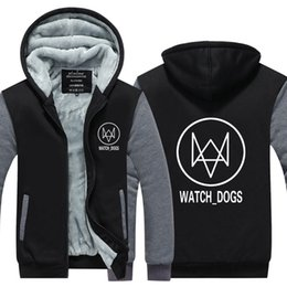 Wholesale Game Dog Collars - New fashion Mens Hoodie Hot Games 3A Thicken Fleece Watch Dogs 2 Winter Coat US EU Plus Size