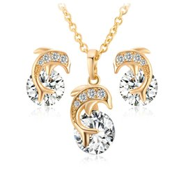 Wholesale Indian Sweets - Lovery Sweet New Fashion Clear CZ Crystal Wedding Party Necklace Set Dolphin Necklace Earrings Set for Women Princess Jewelry Set