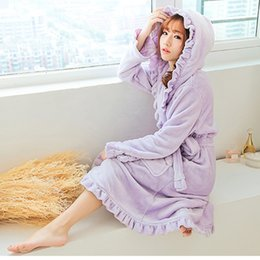 Wholesale Ladies Long Sleeve Night Gown - Wholesale- 2015 Autumn And Winter Female Coral Fleece 6 Colors Night Gown Spa Bathrobe Lady Pajamas Long Sleeve Flounced Hooded Pyjamas