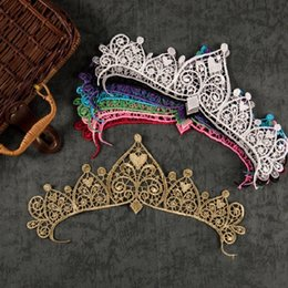 Wholesale Gold Embroidery Thread Wholesale - Metal Thread gold lace crown flower embroidery Lace applique Fabric Sewing Trim costumes Applique Lace patch
