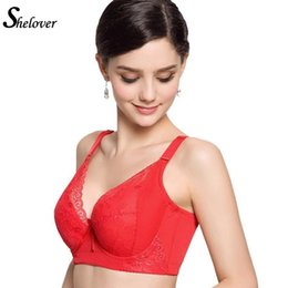 Wholesale Cheap Lace Fronts Free Shipping - Wholesale-Hot Sale Women Cute Cheap Bras 36D 36DD 38DD 40D 40DD Cup Red Lace Push Up Bras For Plus Size Women soutien gorge Free Shipping
