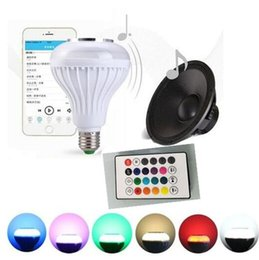 Wholesale Wireless W E27 LED RGB Bluetooth Speaker Bulb power with Music Playing Light Lamp remote controller
