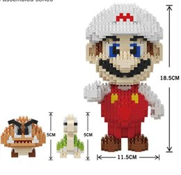 Crianças brinquedos de construção de plástico on-line-Tamanho grande Mini Blocos Dos Desenhos Animados Wario Figuras Yoshi Micro Tijolos Tijolos De Plástico Mario DIY Tijolos de Construção Luigi Juguetes para Crianças Brinquedos Anime Boy presentes
