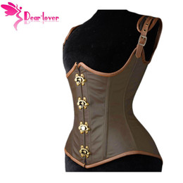 Wholesale Underbust Brown - Dear-lover underbust bustiers Grand Steampunk Leather Clasp Corset Top with G-string LC5323 steampunk corselet sexy lingerie set 17410