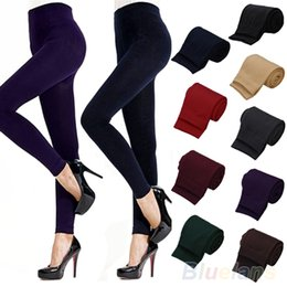 wholesale brown leggings Coupons - Wholesale- Hot Fitness High Street Lady Womens Winter Warm Skinny Slim Stretch Thick Footless Leggings 0JPH