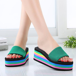 Wholesale Thick Sandals Wholesale - Wholesale- Women Sandals Slippers Fashion Bohemian Casual Woman Slippers Thick Heel Beach Non-slip Rainbow Women Slippers Mujer Pantuflas