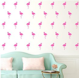 Wholesale Birds Wall Decal - 15pcs 5*10cm Flamingo Wall Stickers Bird Decal For Kids Rooms DIY Art Vinyl n Wall Home Décor Removable Wall Stickers KKA1973