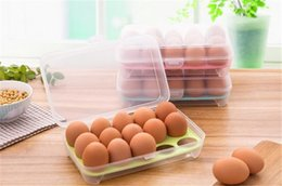 Wholesale Egg Baskets - Transparent Storage Box For Eggs Refrigerator Crisper 15 Grids Egg Storage Basket Grid Portable Egg Cartons Kitchen Tool