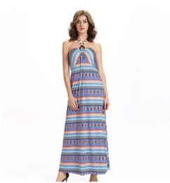 Vestido de noite pendurado pescoço on-line-Alta qualidade mulher nova vestidos de verão Pendurado pescoço cadeia sexy backless dress, vestido, com peito mat sereia dress vestido de noite nr76065
