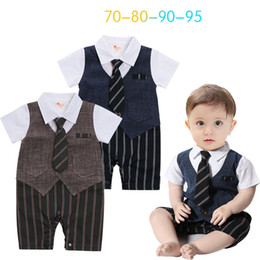 Wholesale Toddler Boy Tuxedo Shorts - toddler boys gentleman rompers summer short sleeves formal tuxedo suits for flower boy baby birthday party clothes cool boy jumpsuit retail