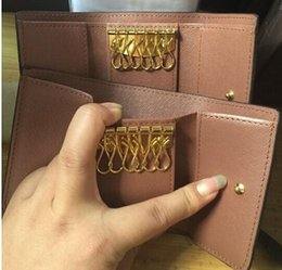 Wholesale Vintage Card Bag - Vintage Leather Key Wallet Women Keychain Covers Key Case Bag Men Key Holder Housekeeper Keys Organizer