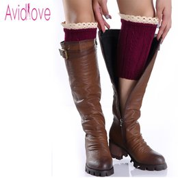 Wholesale Wholesale Lace Trim Boot Sock - Wholesale- Avidlove Winter Women Leg Warmer Ladies Fashion Knit Crochet Hollow Out Boot Cuffs Short Socks With Lace Trim 9 Colors U2