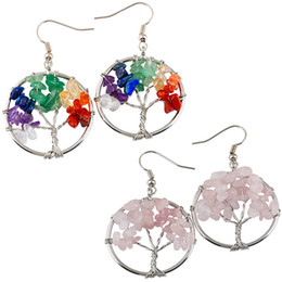 Wholesale Amethyst Turquoise - 5 Styles Tree of life Charm Earrings pendant Amethyst Crystal Earrings Gemstone Chakra Jewelry Mothers Day Gifts 5 Birthday Gifts B162S