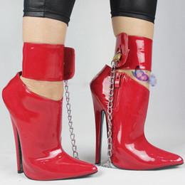 Canada Sex Toys Unisexe Sexy BDSM sm Jeu de CD Play 18cm Talon Fétiche Verrouiller la Cheville Bottes de Bondage Haute Chaussures Talon Mince Talon Haut Femmes Chaussures Simples Escarpins Offre