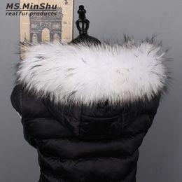 Wholesale Scarfs For Women Hood - Ms.MinShu Raccoon Fur Collar Natural Fur Trimming For Jacket Hood Trim Custom Made Down Coat Fur Hood Trim