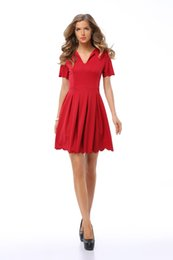 Wholesale Wavy Skirts - Sexy Women' fashion Summer Short Sleeve Casual Tops Expansion skirt V-Neck Pleated petals wavy edge Red dress