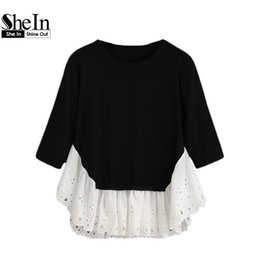 Wholesale Womens Ruffle Sweater - Wholesale-SheIn 2016 Autumn Jumpers Casual Womens Pullovers Casual Black and White Long Sleeve Contrast Ruffle Hem Sweater