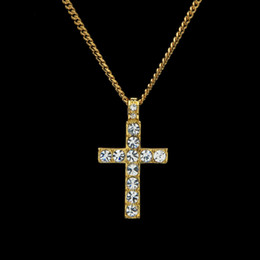 white gold cross necklace set Promo Codes - Cross Necklaces & Pendants Rose Gold Color Zinc Alloy With Austria Crystal Pave Setting Chain Necklace Wholesale