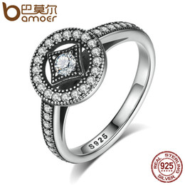 Wholesale Allure Fashion - Wholesale- BAMOER Classic 100% 925 Sterling Silver Vintage Allure, Clear CZ Finger Ring Women Luxury Fashion Jewelry S925 PA7199