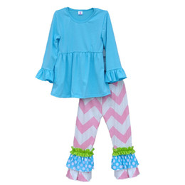 Wholesale Ruffle Leg Baby Pants - Wholesale- Wholesale Baby Girl Clothes Set Solid Blue Pullover Pink Striped Pants Ruffle Patchwork leg openning 2016 Kids Fashion F026