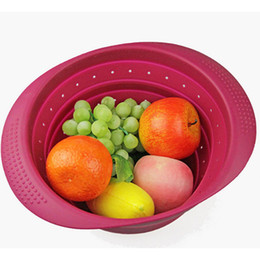 Wholesale Kitchen Fruit Vegetable Storage - Silicone Vegetable Folding Basket Kitchen Folding Silicone Storage Colander Fruit &Vegetable Wash Drain Basket Strainers Vegetable Strainer