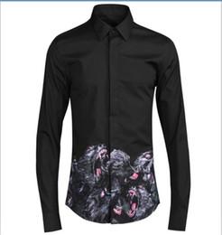 Wholesale Breast Head - Free Shipping 2017 New Arrival Fashion Monkey Head Digital Printed Original European Design Mens Slim Long-sleeved Casual Shirt Hot Sale