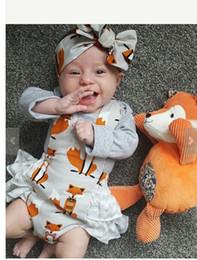 Wholesale Wholesale Diaper Kid - Baby romper sets INS new Baby Girls fox suspender jumpsuit + Bows headbands 2pcs sets summer toddler kids printed boutique diaper suit T0593