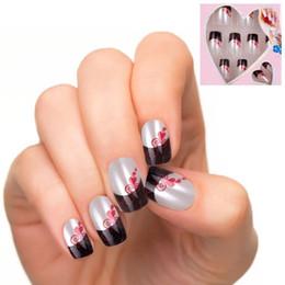 Wholesale Fingernails Art - Wholesale- 24pcs lot False Fingernails New Faux Ongles Printed Acrylic Nail Tips Art Design Fake Nails with Glue JQ132