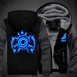 Wholesale Thicken Coats - Unisex NARUTO Akatsuki Hoodies Coat Winter Fleece Thicken Luminous Sweatshirts Jacket