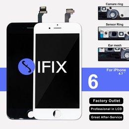 Wholesale Displays For Rings - Grade AAA Replacement Screen LCD For iPhone 6 Display With Digitizer Touch Screen Assembly White & Black with camera ring and sensor holder