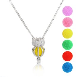 Wholesale Wholesale Imitation Perfumes - Fashion Owl Perfume Essential Oil Diffuser Necklace Aromatherapy Rose Flower Locket necklace for Women jewelry with 6pcs Felt Pads