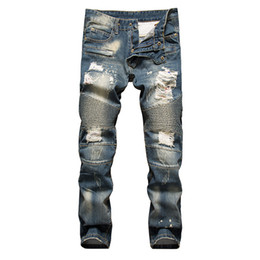 Wholesale High Waist Distressed Jeans - Wholesale-New mens designer ripped biker jeans high quality Distressed straight Motorcycle Washed jeans homme pants fpr male m74
