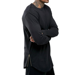 Wholesale Black Long Shirt - New Trends Men T shirts Super Longline Long Sleeve T-Shirt Hip Hop Arc hem With Curve Hem Side Zip Tops tee