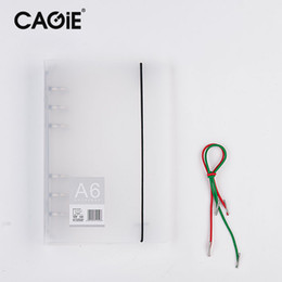 Wholesale Notebook Shell - Wholesale- CAGIE Creative A6 A5 PP Notebook Accessory Sheet Shell Office School Stationery Transparent Concise 6 Holes Binder Planner Cover