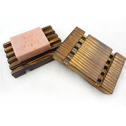 Wholesale Wood Soap Dishes Wholesale - 12.5*8.2*1.5cm High Quality Natural Wood Soap Dish DHL Soap Holder Dish Bathroom Shower Storage Plate Stand Wood Box Natural Soap Dishes