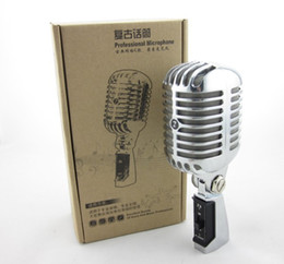 Wholesale Dynamic Vocal Microphone - Professional Wired Vintage Classic Microphone Top Quality Dynamic Moving Coil Mike Deluxe Metal Vocal Old Style Ktv Mic Z6 mike