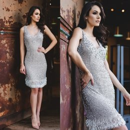 Wholesale Short Sheath Bling Dresses - Vintage Short Prom Dresses Plunging Neck Special Occasion Bling Dress Sequined Knee Length Sheath Party Dress