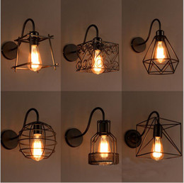 Wholesale Birdcage Iron - loft iron birdcage wall lamp vanity lights led wall sconces country style badroom Corridor industrial lights fixture