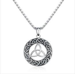 Wholesale Vintage Irish - Mens Necklaces Stainless Steel Vintage Irish Celtics Trinity Love Knot Round Triquetra knot Pendant Necklace Jewelry PN-708