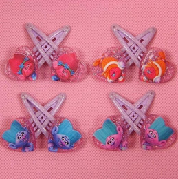 Wholesale Cute Hair Clips For Babies - Trolls Baby Hair Clips Boutique Cartoon Hairpins For Girls Kids Trolls Hair Accessories Children Acrylic Barrettes Cute Headdress
