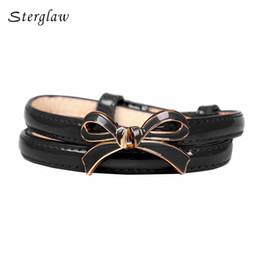 Wholesale Women Thin Leather Belt - Wholesale- Hot style female bow buckle thin belt for women 2017 beautiful Ladies casual modeling girdle ceinture femme de marque N012